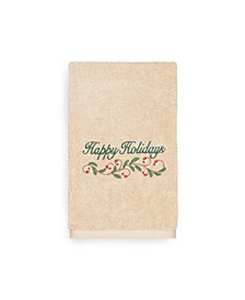 Linum Home Christmas Happy Holidays 100% Turkish Cotton Hand Towels