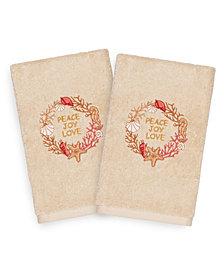 Linum Home Christmas Peace 100% Turkish Cotton 2-Pc. Hand Towel Set