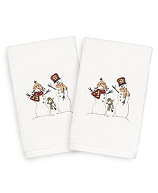 Linum Home Christmas Snow Family 100% Turkish Cotton 2-Pc. Hand Towel Set
