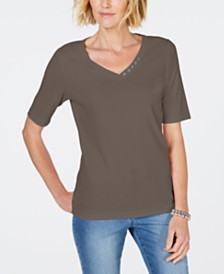 Karen Scott Petite Cotton V-Neck Top, Created for Macy's