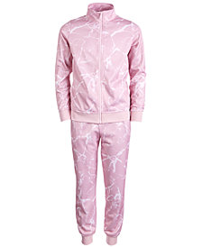 Ideology Big Girls Marble-Print Active Track Jacket & Jogger Pants, Created for Macy's