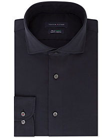 Tommy Hilfiger Men's Slim-Fit TH Flex Performance Stretch Non-Iron Navy Houndstooth Dress Shirt