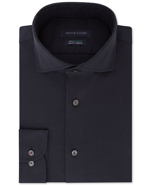 a72a2772 ... Tommy Hilfiger Men's Slim-Fit TH Flex Performance Stretch Non-Iron Navy  Houndstooth Dress ...