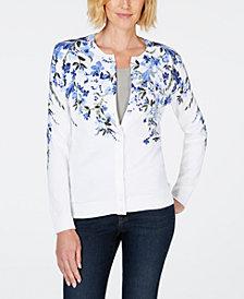 Karen Scott Floral-Print Crew-Neck Cardigan, Created for Macy's