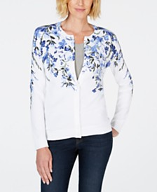 Karen Scott Floral-Print Crew-Neck Cardigan, Created for Macy's