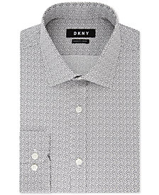 DKNY Men's Classic/Regular-Fit Performance Stretch Gray Triangle Print Dress Shirt, Created for Macy's