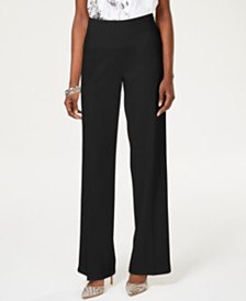 I.N.C. Wide-Leg Crêpe Side Zip High Waist Pants, Created for Macy's