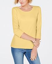 9c38c508bc73 Karen Scott Petite Cotton Scoop-Neck 3 4-Sleeve Top