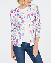 df13e80f72 Karen Scott Floral-Print Cardigan Sweater
