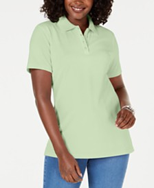 Karen Scott Petite Pique Cotton Polo Top, Created for Macy's