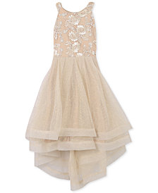 Speechless Big Girls Embroidered Glitter-Mesh Dress