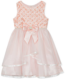 Rare Editions Little Girls Basket Weave Mesh Dress