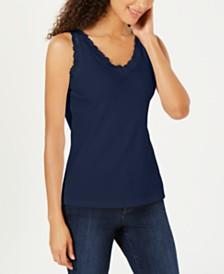 Karen Scott Petite Cotton Lace-Trim Top, Created for Macy's