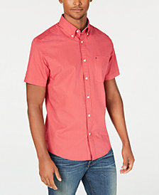 Tommy Hilfiger Men's Lucien Custom-Fit Piece-Dyed Print Shirt, Created for Macy's