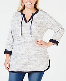 Charter Club Plus Size Space-Dyed Tunic, Created for Macy's