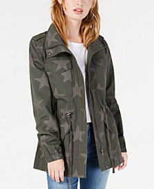 American Rag Juniors' Cotton Star-Print Utility Jacket, Created for Macy's