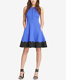 DKNY Zip-Up Scalloped Fit & Flare Dress, Created for Macy's