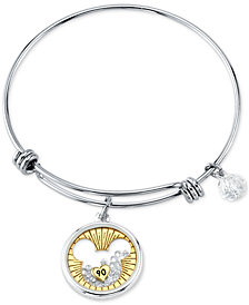 Disney's Mickey Mouse Crystal Charm Bangle Bracelet for Unwritten in Stainless Steel and Gold-Tone