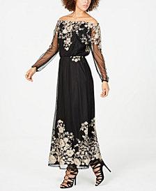 Nine West Gold-Embroidered Off-The-Shoulder Maxi Dress