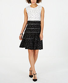 Taylor Polka-Dot Fit & Flare Dress