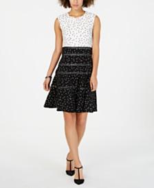 Taylor Polka-Dot Fit & Flare Dress