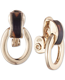 Lauren Ralph Lauren Gold-Tone Tortoiseshell-Look Link Clip-On Drop Earrings