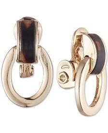 Lauren Ralph Lauren Gold-Tone Tortoiseshell-Look Link Clip-On Drop Earrings