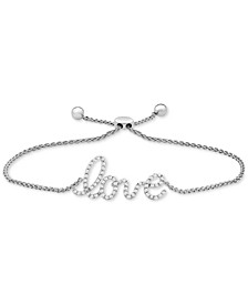 Wrapped™ Diamond Love Bolo Bracelet (1/6 ct. t.w.) in 14k White Gold, Created for Macy's
