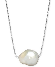 "Baroque Cultured White Freshwater Pearl (12mm) 18"" Pendant Necklace in Sterling Silver"