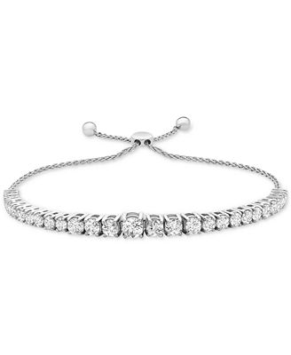 Macy S Diamond Bolo Bracelet 2 Ct T W In 14k White Gold