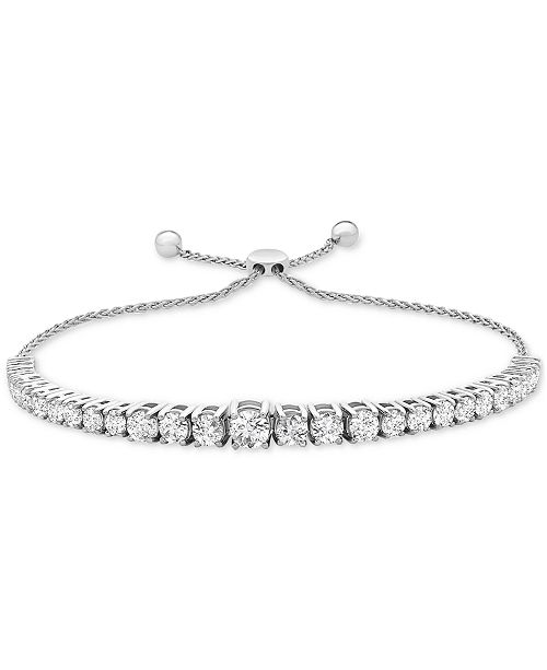 Macy's Diamond Bolo Bracelet (2 ct. t.w.) in 14k White Gold