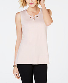JM Collection Split-Neck Sweater Shell, Created for Macy's