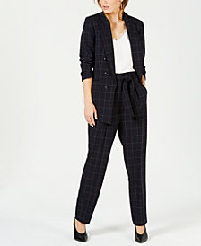 Bar III Windowpane Blazer, Lace-Trim Shell & Belted Pants, Created for Macy's