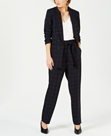 Bar III Windowpane Blazer, Lace-Trim Shell & Belted Pants, Created for Macy's