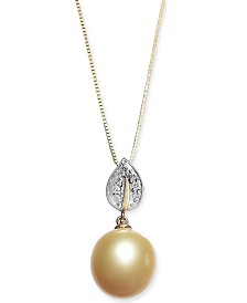 "Cultured Golden South Sea Pearl (10mm) & Diamond Accent 18"" Pendant Necklace in 14k Gold"