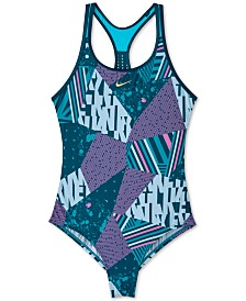 Nike Big Girls 1-Pc. Mixed-Print Mash-Up Racerback Swimsuit