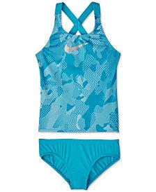 Nike Big Girls 2-Pc. Optic Camo Crossback Tankini