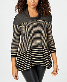 John Paul Richard Petite Striped Cowl-Neck Sweater