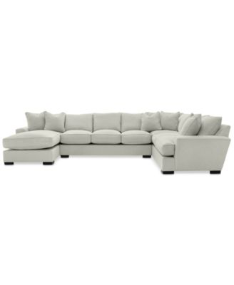 Ainsley 3-Pc. Fabric Chaise Sectional with 6 Throw Pillows, Created for Macy's