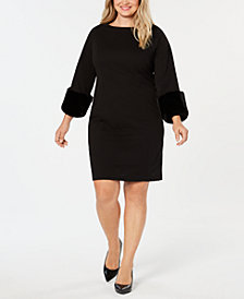 Alfani Faux-Fur Cuff Shift Dress, Created for Macy's