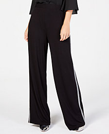 NY Collection Petite Wide-Leg Side-Striped Pants