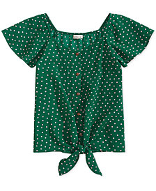 Monteau Big Girls Tie-Front Dot-Print Top