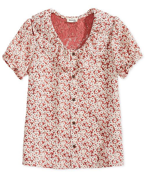 Monteau Big Girls Floral-Print Shirt
