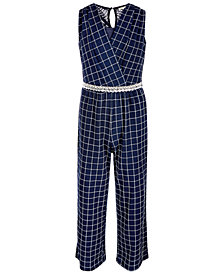 Monteau Big Girls Windowpane Plaid Jumpsuit