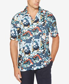 Perry Ellis Men's Regular-Fit Camp Collar Abstract Shirt