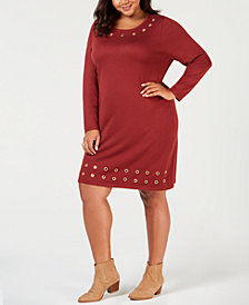 NY Collection Plus Size Grommet-Trim Sweater Dress