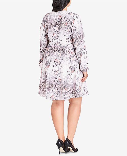 ccf26ea48 City Chic Trendy Plus Size Mixed-Print Faux-Wrap Dress - Dresses ...
