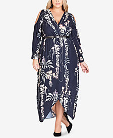 City Chic Trendy Plus Size Cold-Shoulder Faux-Wrap Dress