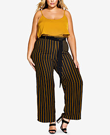 City Chic Trendy Plus Size Striped Palazzo Pants