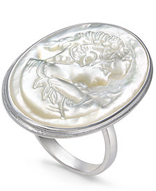 Mother-of-Pearl Cameo Ring in Sterling Silver
